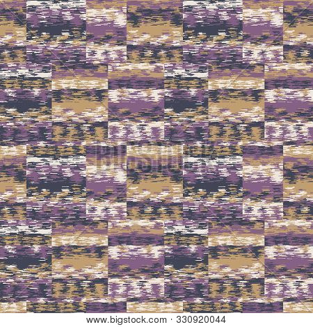 Spliced Stripe Geometric Variegated Background. Seamless Pattern With Woven Dye Broken Stripe. Brigh