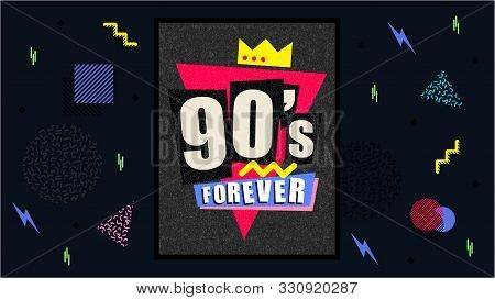90s And 80s Poster. Nineties Forever. Retro Textures And Alphabet Mix. Aesthetic Fashion Background