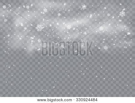 Falling. Snowflakes, Snow Background, Snow Flakes. Christmas Snow For The New Year.  Heavy Snowfall,