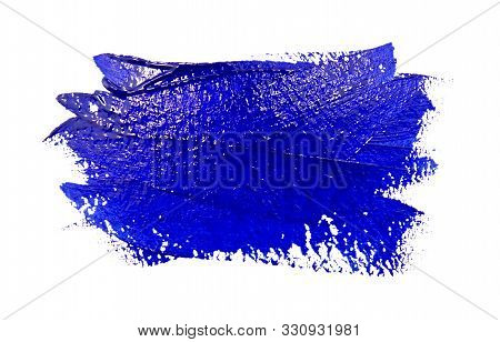 Paint Brush Stroke Texture Blue Watercolor Isolated On A White Background