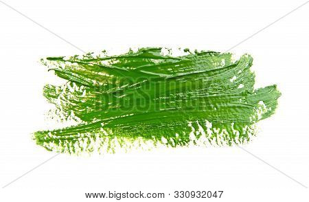 Paint Brush Stroke Texture Green Watercolor Isolated On A White Background