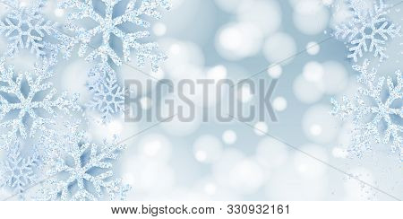 Winter Abstract Blue Backdrop With Realistic White Snow Snowflakes. Elegant Blurry Banner, Poster, G