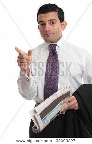 Businesman Pointing Finger Direction