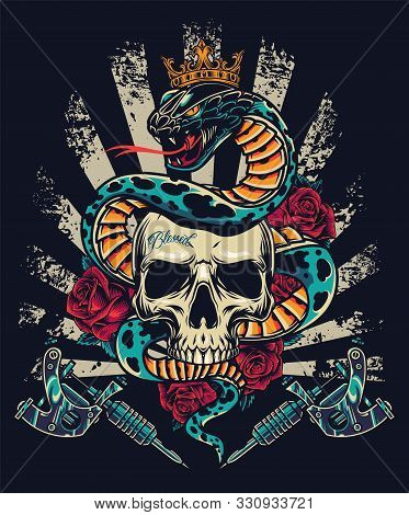 Vintage Colorful Tattoo Concept With Professional Tattoo Machines Roses And Snake In Royal Crown Ent