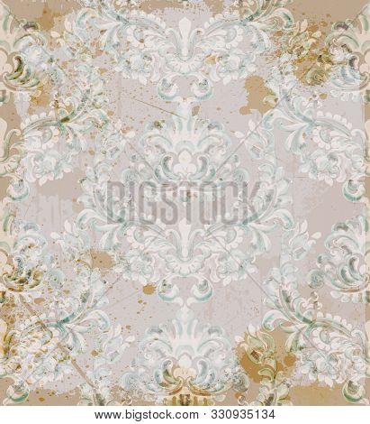 Rococo Texture Pattern Vector. Floral Ornament Decoration. Victorian Engraved Retro Design. Beige Ba