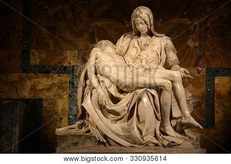 Vatican City, Vatican - December 14, 2018. Michelangelo Pieta Sculpture At Saint Peters Basilica In