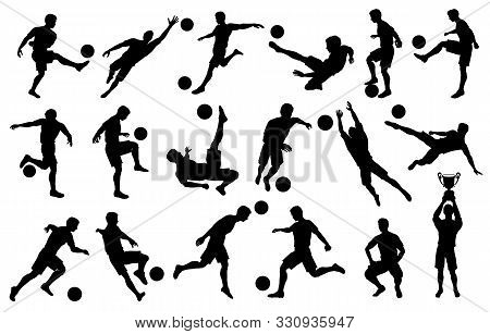 Set Silhouettes Soccer Football Players, Goalkeeper, Team Champion With Cup, Soccer Ball In Various