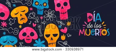 Day Of The Dead Web Banner, Colorful Watercolor Sugar Skull With Traditional Hand Drawn Mexico Decor