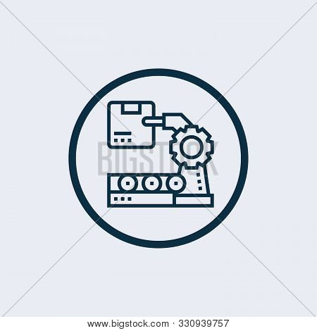 poster of Robotic arm icon isolated on white background. Robotic arm icon in trendy design style. Robotic arm vector icon modern and simple flat symbol for web site, mobile, logo, app