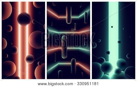 Abstract Futuristic Backgrounds With Neon Lights And Lines In Dark Space, Gradients Orange And Green