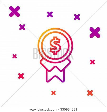 Color Line Reward For Good Work Icon Isolated On White Background. Employee Of The Month, Talent Awa
