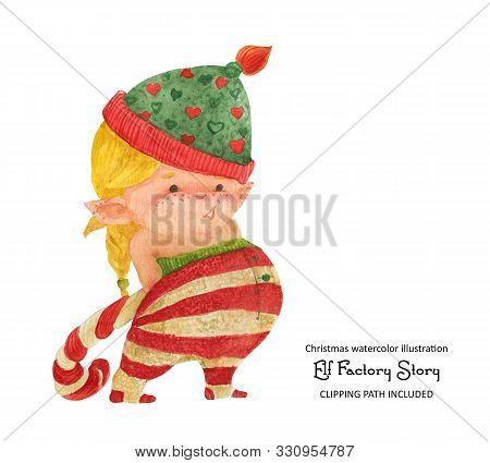Christmas Elf Story, Elf Girl With Candy Cane, Isolated Watercolor And Clipping Path