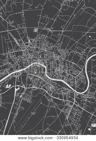 City Map Pisa, Monochrome Detailed Plan, Vector Illustration Black And White City Plan