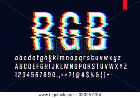 Modern Style Distorted Glitch Typeface, Mixing Red Green And Blue Channel Screen Defect, Uppercase A