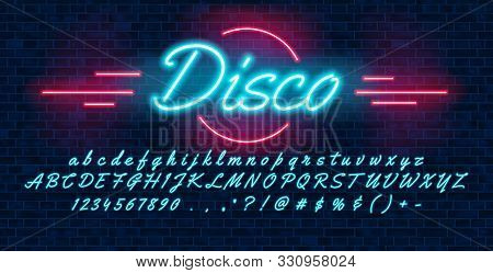 Neon Light Blue Font Hand Drawin, English Alphabet Uppercase And Lowercase Letters And Numbers, On B