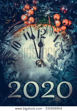 New Years Clock And Decorations And Numbers 2020. New Two Thousand And Twentieth Year.