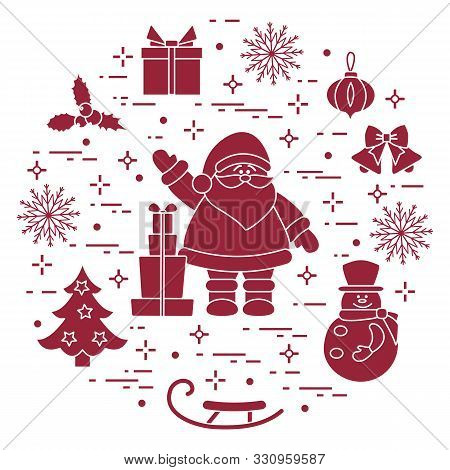 Merry Christmas Happy New Year 2020. Vector Illustration  Santa Claus, Gifts, Bells, Christmas Tree,