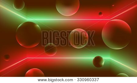 Space With Neon Rays And Soaring Balls, Flying Figures In The Room With A Gradient Reflex, Vector Il