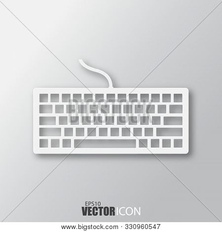 Keyboard Icon In White Style With Shadow Isolated On Grey Background.