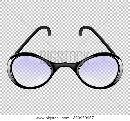 One Fashionable Elegant Man Or Woman Realistic Glasses Isolated On The Transparent Background. Front
