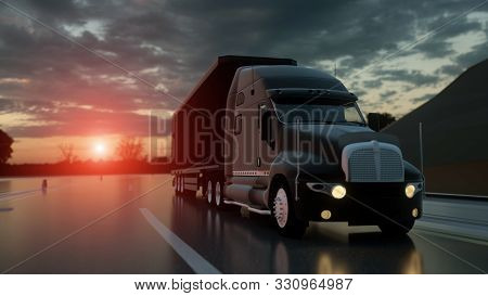 Semi Trailer. Truck On The Road, Highway. Transports, Logistics Concept. 3d Rendering.