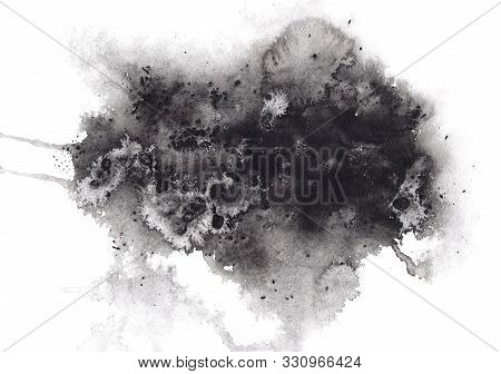 Abstract Expressive Textured Black Ink Or Watercolor Stain. Mysterious Dynamic Isolated Inky Blob, D