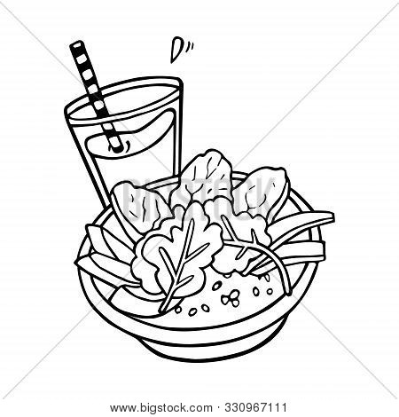 Smoothie Or Juice Or Cocktail And Healthy Bowl Handdrawn In Cartoony Style, Black Artwork Isolated O