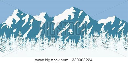 Vector Pine Forest Background Pattern. Abstract Blue And White Panorama Of Nature Landscape With Eve