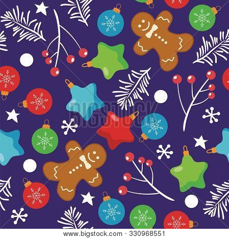 Vector Seamless Christmas  Background With Gingerbread Cookies, Snowflakes,red Berries And Christmas