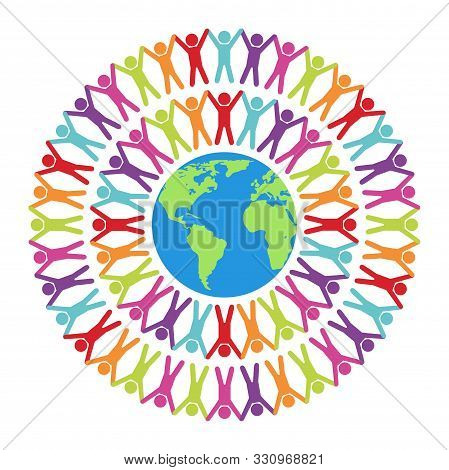 Vector Colorful Illustration Of People Around The World, Peace, Friendship Or Travel Concept. Earth