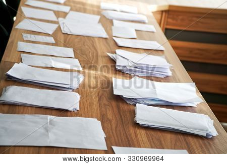 Sheets Of Paper Collected During A Poll, Referendum, Questionnaire Or Election, With The Wishes Of C