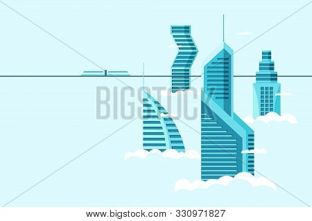 Detailed Future City With Different Architecture High Buildings Skyscrapers Apartments Above Clouds.