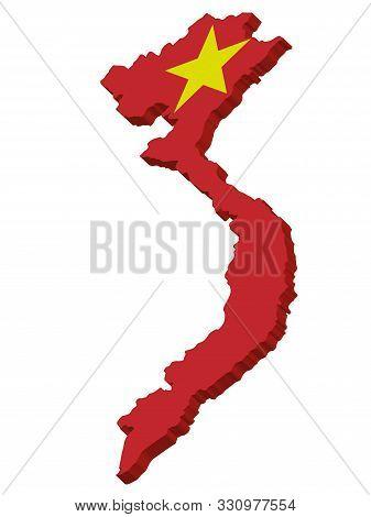 3d Flag Map Of Vietnam Officially The Socialist Republic Of Vietnam. Vector Illustration Eps 10.