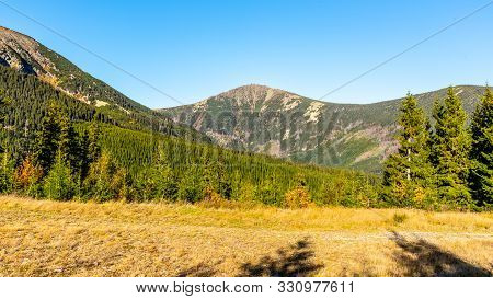 Snezka - The Highest Mountain Of Czech Republic. View From Valley. Giant Mountains, Krkonose Nationa