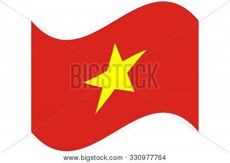 Wave Flag Of Vietnam Officially The Socialist Republic Of Vietnam. Vector Illustration Eps 10.