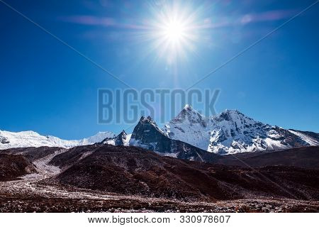 View To Ama Dablam 6814m Peak Near Dingboche Settlement In Sagarmatha National Park, Nepal. Everest