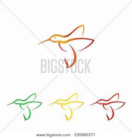 Hummingbird Flying. Colorful Hummingbird Icon Symbol In Modern Flat Style. Hummingbird Vector Symbol