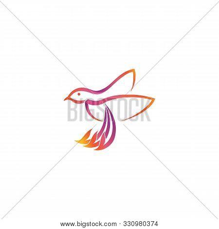 Hummingbird Flying With A Broken Beak. Colorful Hummingbird Icon Symbol In Modern Flat Style. Hummin