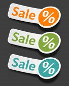 Vector sale stickers set. Transparent shadow easy replace background and edit colors. poster