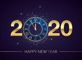 Golden Clock Dial with Numbers 2020 on Magic Christmas Background. New Year Countdown and Chimes. Five Minutes before Twelve Template for your Design Poster or Invitation. Vector illustration poster
