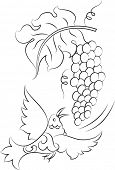 Calligraphic Bird with Grapes poster