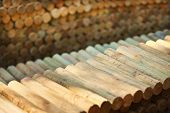 Background with wooden logs arranged in few rows in the yard, human and corporate greed effects of deforestation  poster