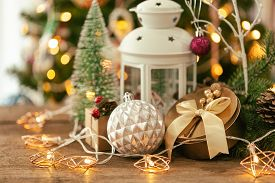 Holiday Christmas Wood Wallpaper With Lantern. Christmas Card Background With Lantern And Festive De