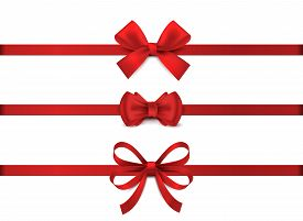 Red Realistic Bow. Horizontal Red Ribbon Collection. Holiday Gift Decoration, Valentine Present Tape