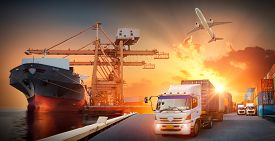 Container Truck In Ship Port For Business Logistics And Transportation Of Container Cargo Ship And C