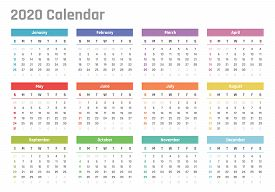 Calendar For 2020 Starts Sunday, Vector Calendar Design 2020 Year