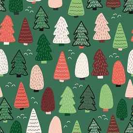 Christmas Trees Vector Background. Seamless Pattern Hand Drawn Doodle Trees. Decorative Holiday Back