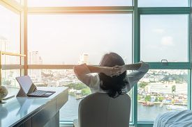 Work-life Balance Relaxation With Asian Working Business Woman Healthy Lifestyle Take It Easy Restin