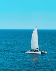Sailboat In The Sea With Ongoing Party Aboard. Spain, Europe