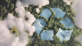 Eco Friendly Waste Management Concept. Recyclyling Sign In A Lake Shape In The Middle Of Dense Amazo